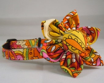 Cat Collar and Flower - Good Earth Paisley