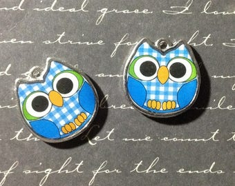 Blue OWL charm silver and colorful 19x19mm