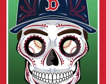 Boston Red Sox Sugar Skull Print 11x14 print