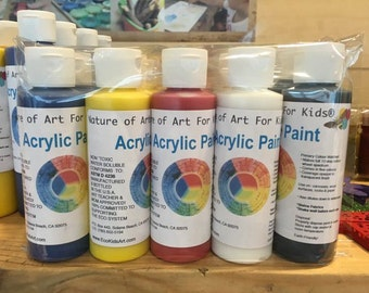 5 bottles of kids acrylic paint starter set, three primary colors for mixing plus black and white, designed by earth-friendly mom