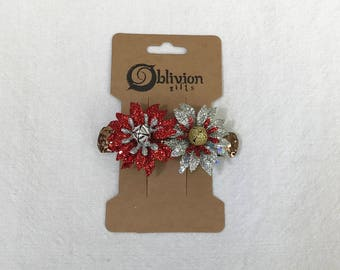 Christmas Glitter Chrysanthemums w/ Rose-gold Back Barrette