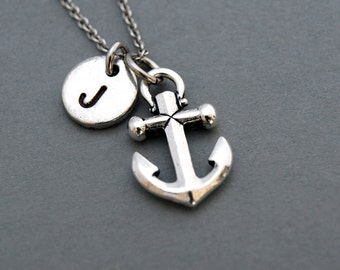 Anchor charm Necklace, Nautical, antique silver, initial necklace, initial hand stamped, personalized, monogram
