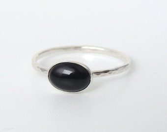 Oval Black Onyx Ring Sterling Silver Stacking Ring Jet Black Stone Ring