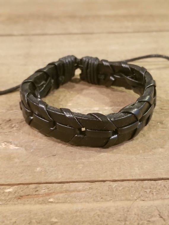 Adjustable Black Leather Weaved Bracelet Native American Style Fashion Cuff Boho Hippie (B47)
