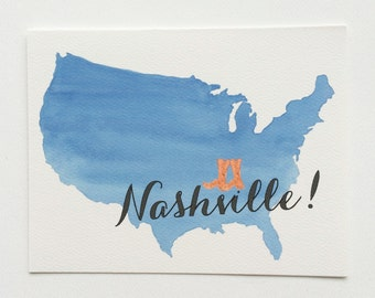 Blue ombre United States Nashville type & cowboy boots Illustrated Note Cards
