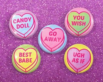 Candy Heart Badge Set