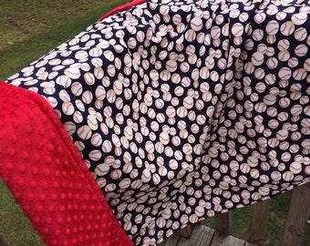40x36'' toddler sized baseball print minky blanket