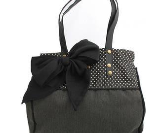 Handbag grey dark black polka dots and bow