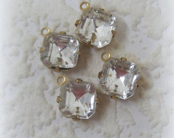12MM, 1 Ring, Crystal, Clear, Square, Multi Faceted, Rhinestone, Open backed, 4 Prong, Brass, Setting, Charm, Drop,