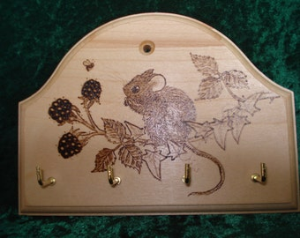 SALE! Sycamore Keyrack with Pyrography Design