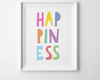 Happiness print, inspirational wall art for kids, Cute nursery print, prints for kids room wall art, kids typography art children room decor