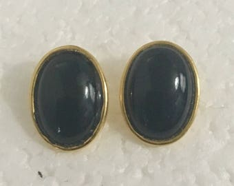 Gold plated brass oval stud earrings with black onyx stones