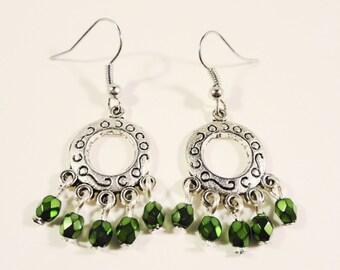 Beaded Chandelier Earrings, Metallic Green Glass Drop Earrings, Beadwork Earrings, St. Patrick Day Jewelry, Silver Hoop Earrings, Gift Idea