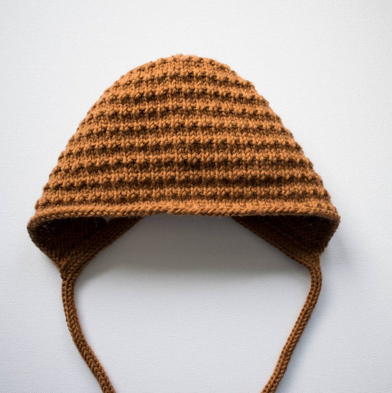 Bracken Bonnet in Toffee Merino Wool - Size 3-6 months - Ready to Ship