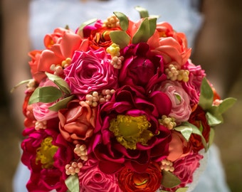 Custom Hand Sculpted Satin Garden Bridal Wedding Bouquet Featuring Peonies, Ranunculus and Roses in Bright Pastels.