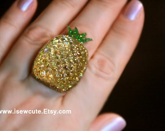 Pineapple Ring, Summer Jewelry, Gold Glitter Resin Ring, Cute Tropical Fruit Jewelry, Be a Pineapple Wear a Crown Stand Tall & Stay Sweet,