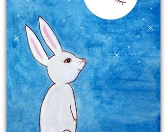 Bunny Nursery Print, 5x7 Printable Art, Kids Room Decor, Cute Bunny Art, Nursery Art, Cute Animals Art