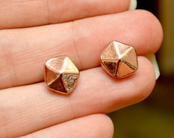 Antic Copper Pentagon Earrings, Small Dainty Studs // Bridesmaid Wedding Gifts // Bohomenian Style