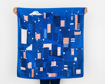 Free Shipping Worldwide / Tokyo Furoshiki. Glow in the dark, Japanese eco wrapping textile/scarf