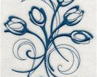 PAIR hand towels - intricate ink tulips - EMBROIDERED 15 x 25 inch for kitchen or bath