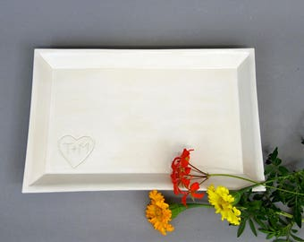 "Personalized White Stoneware Rectangular Tray 8""x12"" Handmade Ceramic Serving Platter with Custom Heart and Initials"