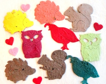 50+ Plantable Woodland Wedding Confetti Party Favors - Flower Seed Paper Confetti Squirrels Owls Quail Hedgehogs - Free PDF Template