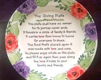 The Giving Plate - Gift to Mom and Dad - Hostess gift Holiday Gift - Housewarming Present -  watercolor floral