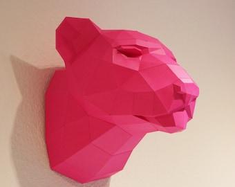"Trophy Leopard  PRECUT ""The Big Five"" DIY Pink Panther, fake trophy"