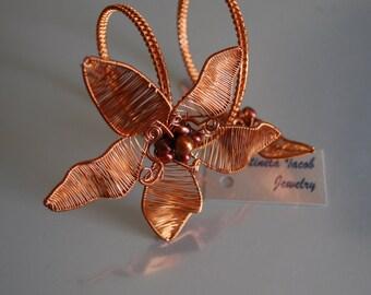 OOAk Unique Copper Flower Bangle Bracelet