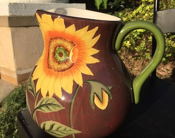 Bella Casa By Ganz Pottery Sunflower Pitcher