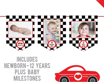 INSTANT DOWNLOAD Race Car Birthday Party - DIY printable photo banner kit - Includes Newborn through 12 Years, Plus Baby Milestones