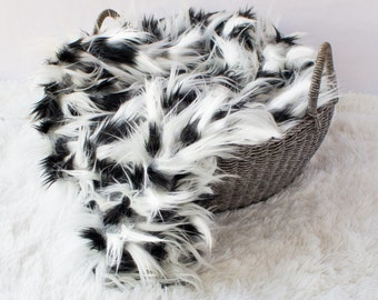 Black and White Dalmatian Spotted Mongolian Faux Fur Prop, Newborn Baby Photo PRop ,Faux Animal Fur, Neutral Prop, Fuzzy Layering Blanket.