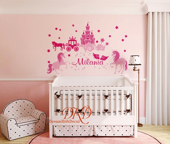 Castle Decal, Princess Castle Wall Decals For Girls Room, Unicorn Decal,  Custom Name Decal Over Crib, Nursery Decor Kids Room  DK080