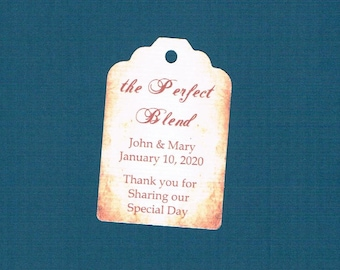 Wedding Tags, Set of 50, Perfect Blend Tags, Printed Tags, Wedding Shower Tags, Tags, Wedding Favor, Thank You Tag