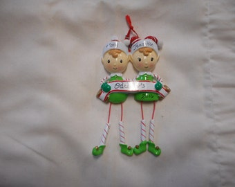 2 family elf ornament// personalized christmas ornament// family of 2 elf dangle leg ornament// christmas ornament