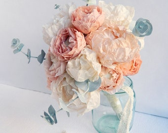 Paper Flower Bouquet with Peonies, Ranunculus and Eucalyptus, Paper Peonies, Peony Bouquet, Boho Wedding Flowers, Alternative Bouquet