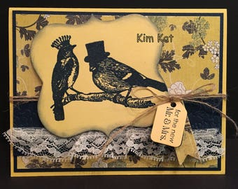 Wedding Card Pop Up New Mr and Mrs 3D Birds Marriage Congratulations Stampin Up OOAK Mixed Media Handmade