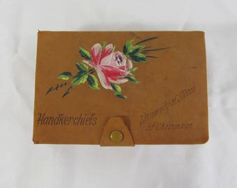 Handkerchief Box - University of Illinois Handkerchief box - Leather Hanky box - Hand painted souvenir box