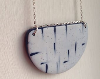 Half Moon Necklace -minimalistic wedding pendant -silver chain -polymer clay pendant -navy white- denim - something blue - sterling silver