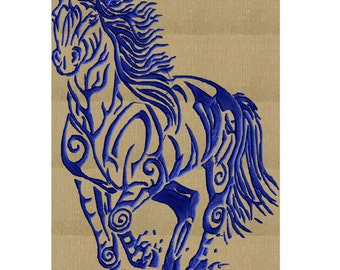 Tatoo Horse - Tribal style - EMBROIDERY DESIGN file - Instant download Exp Jef Vp3 Pes Dst Hus formats - 2 sizes one color