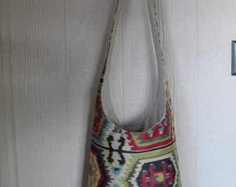 NEW!---Boho Sling cross-body bag in Southwestern gold, red, black and blue, very large and reversible---FREE SHIPPING