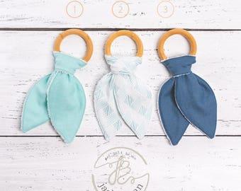 ORGANIC Natural Maple Wood Teething Rings, Blue Wood Teething Toy, Bunny Ears Teether, Bunny Ear Teething Ring, Teething Toy, Made in USA