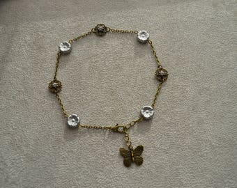 """Silver"" Silver Czech glass flower anklet"