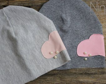 Soft Winter cap-baby/cap with application cloud Pink + Pearls-squashy winter cap-soft cap with cloud APPL