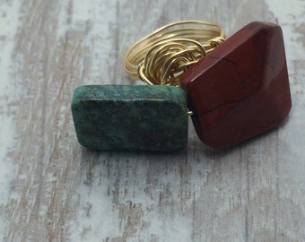 African turquoise red jasper wire wrapped ring gold