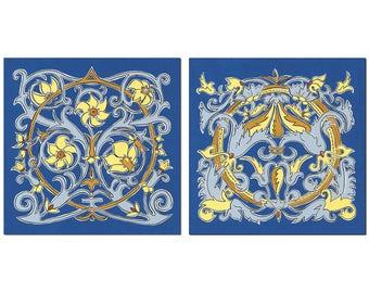 Home Decor Giclee Wall Art Print Set, Blue Illumination Series, 12x12 Matted, Symmetrical Scroll Pattern, Royal Blue, Yellow Gold,Slate Blue