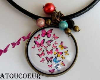 Necklace, Cabochon, leather, atoucoeur romantic Collection.