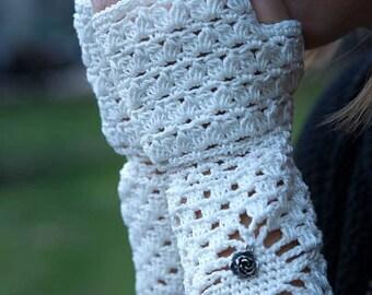 Long white cotton gloves, fingerless gloves, bridal gloves, cotton sleeves