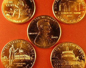 5 Complete sets (40-COINS) P & D Mint pennies of the 2009 LINCOLN BICENTENNIAL