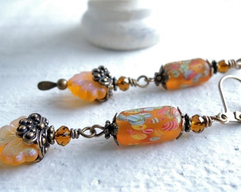 Autumn Dream Leaf Earrings Fall Color Dangle Earrings Vintage Japanese Millefiori Lampwork Beads Topaz Czech Glass Maple Leaf Earrings